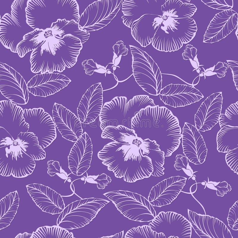 Безшовная картина с фиолетами цветков иллюстрация вектора