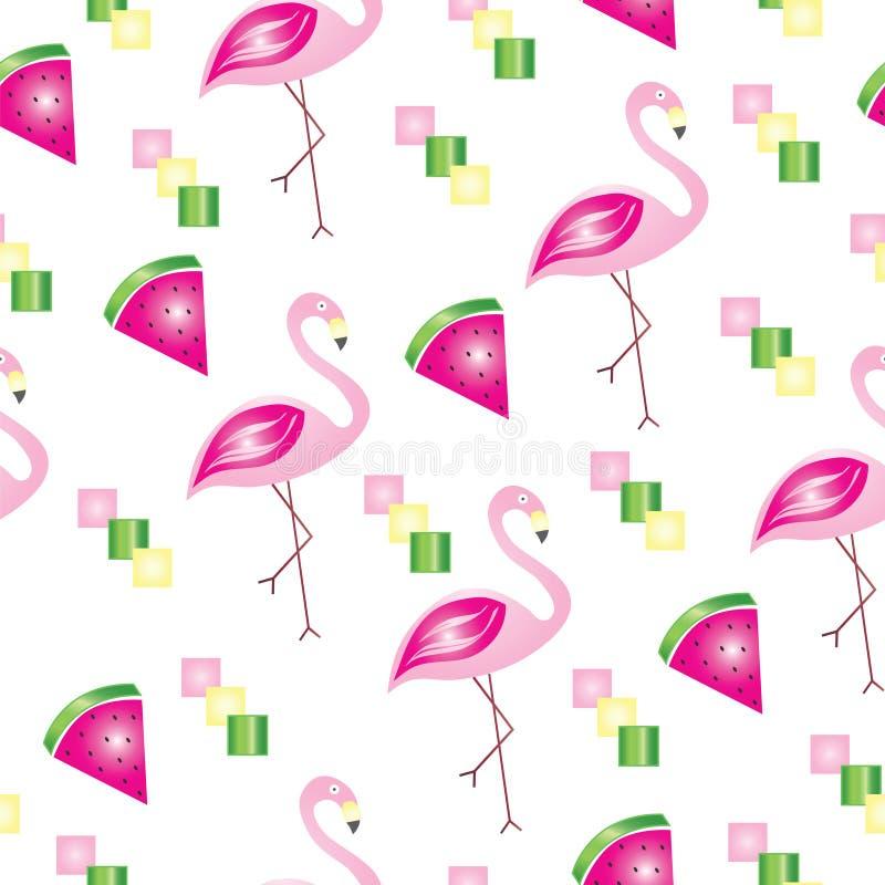 Безшовная картина с фламинго и арбузами - темой лета иллюстрация вектора