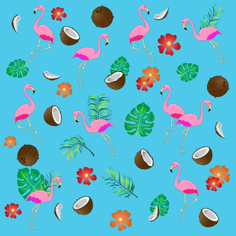 Безшовная картина с фламинго и тропическими листьями иллюстрация вектора