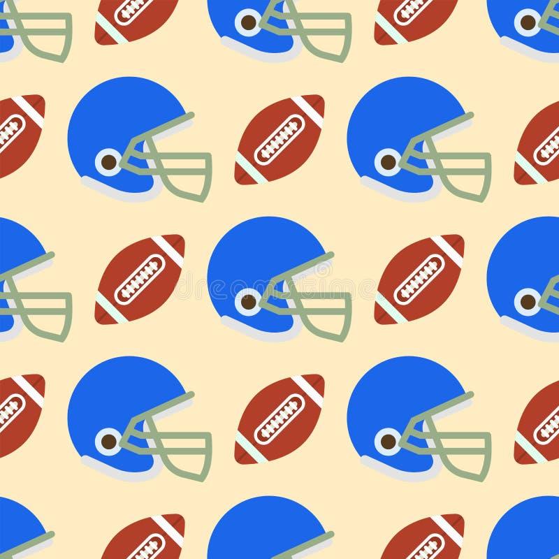 Безшовная картина с футбольными мячами vector символ американского футбола иллюстрация штока