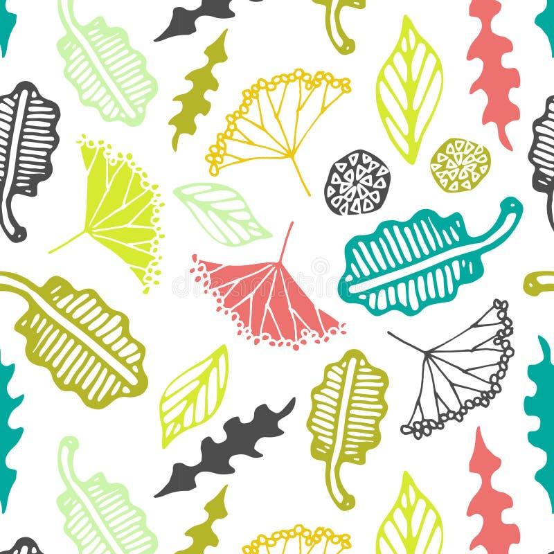 Безшовная картина с флористическими элементами и листьями абстрактный вектор предпосылки иллюстрация штока