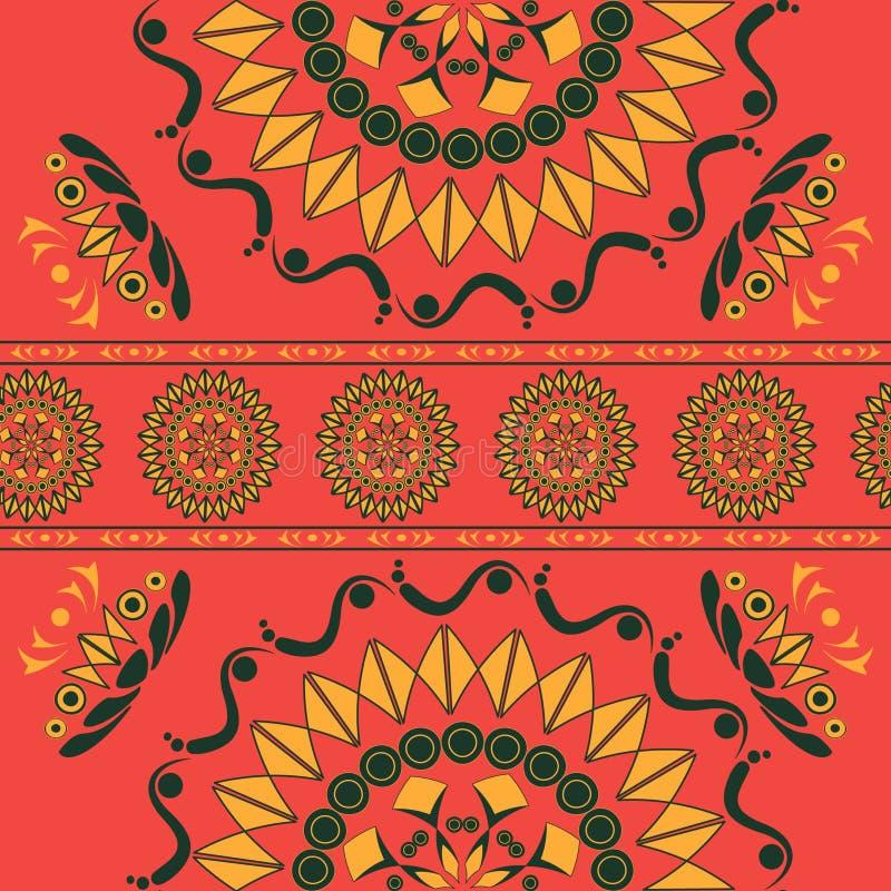 Безшовная картина с флористическим орнаментом в русском национальном стиле стоковое изображение rf
