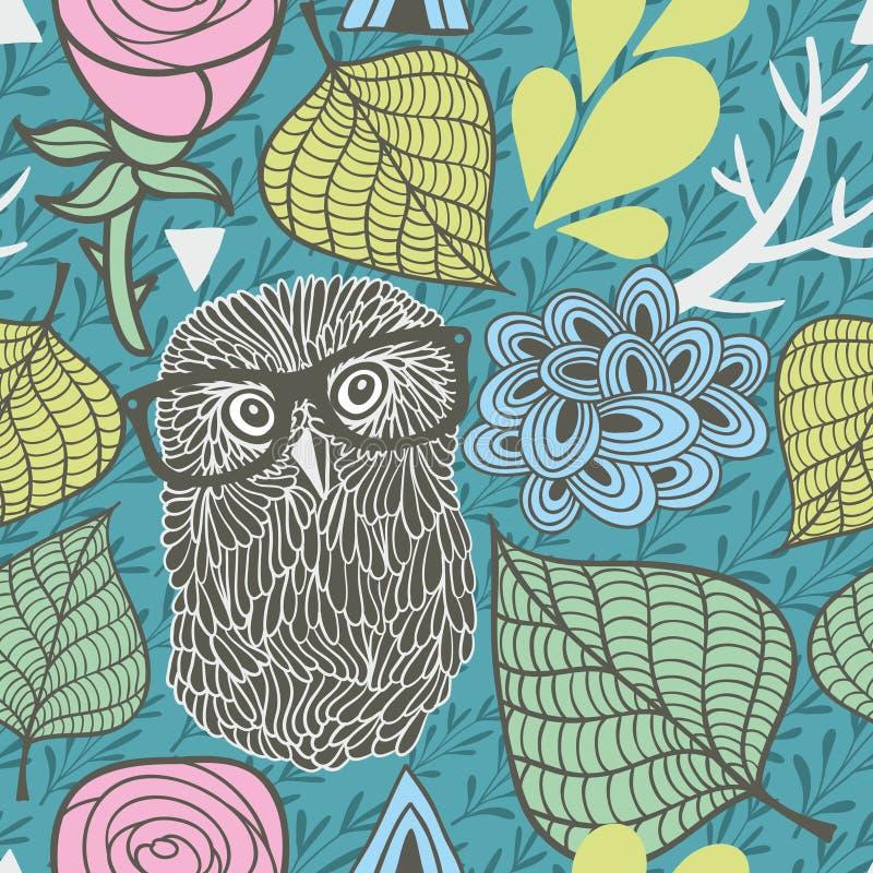 Безшовная картина с флорой весны и романтичные сычи в eyeglasses иллюстрация вектора