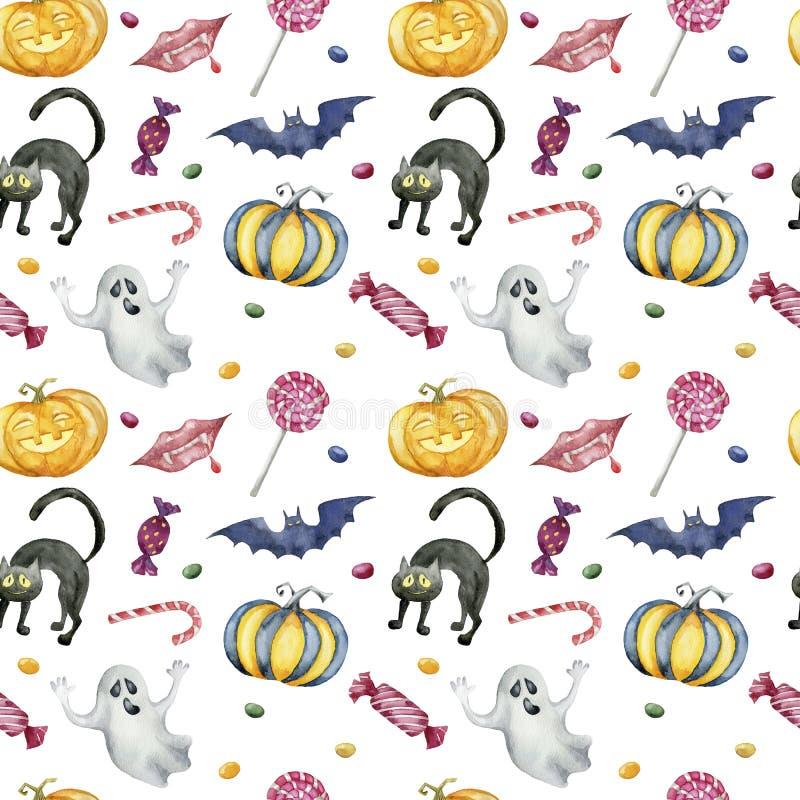 Безшовная картина с характерами хеллоуина на белой предпосылке стоковая фотография rf