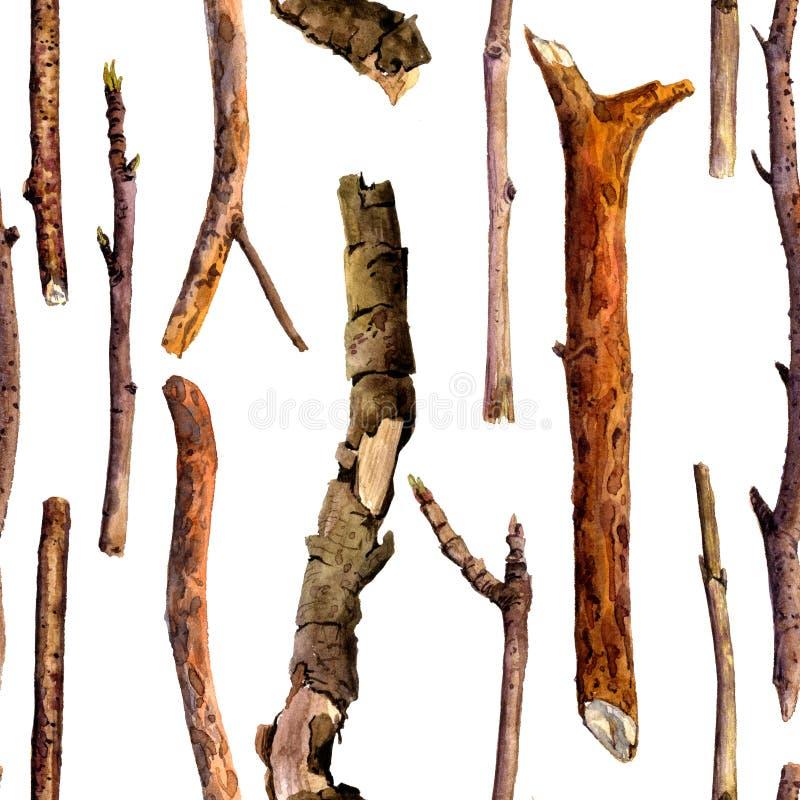 Безшовная картина с хворостинами древесины акварели иллюстрация вектора