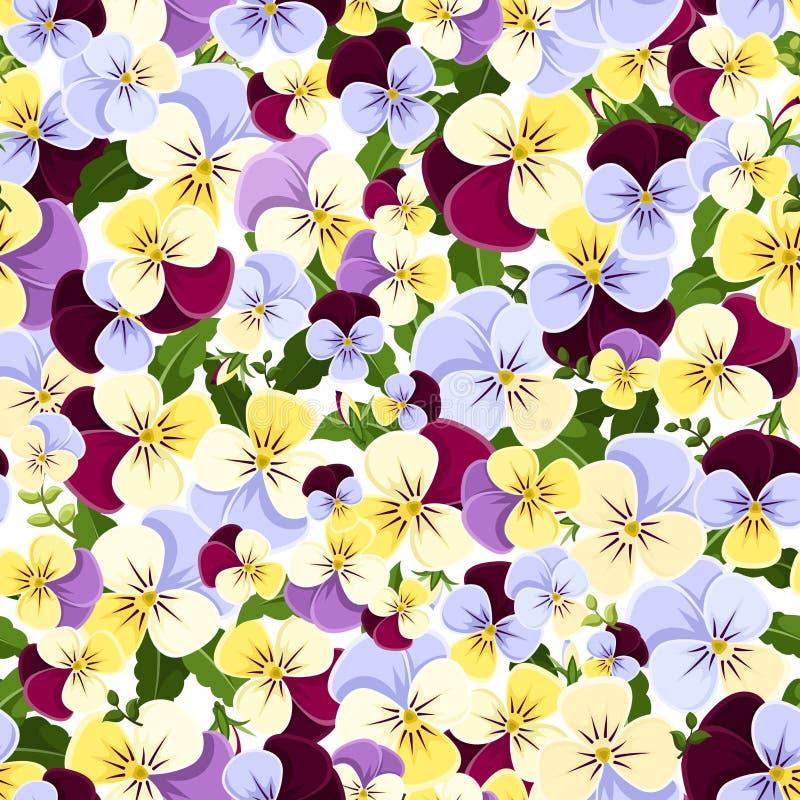 Безшовная картина с цветастыми цветками pansy также вектор иллюстрации притяжки corel иллюстрация штока