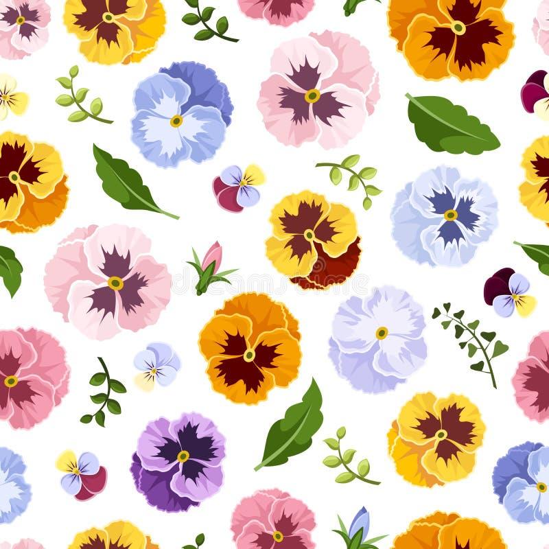Безшовная картина с цветастыми цветками pansy также вектор иллюстрации притяжки corel иллюстрация вектора