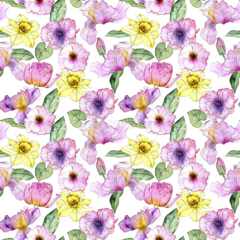 Безшовная картина с цветками иллюстрация вектора