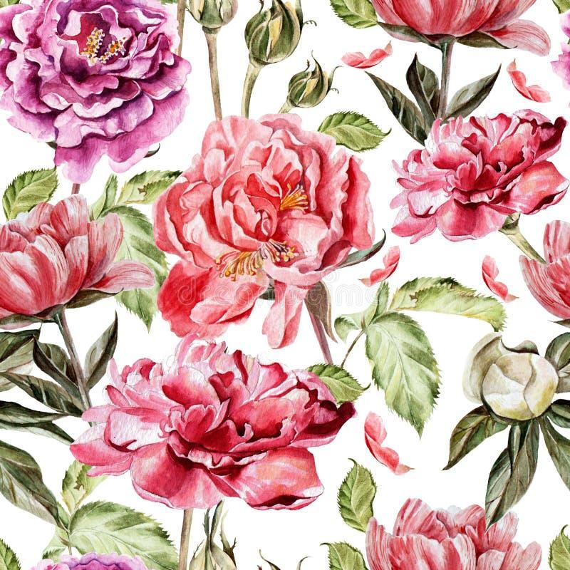 Безшовная картина с цветками акварели peonies иллюстрация вектора
