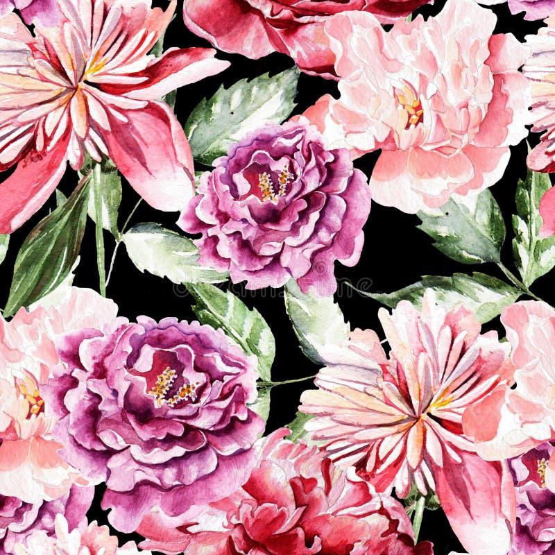 Безшовная картина с цветками акварели peonies иллюстрация штока