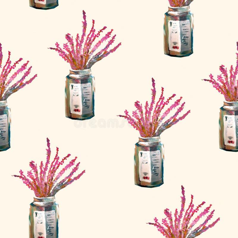 Безшовная картина с цветками в стеклянном опарнике на светлой предпосылке Славная акриловая картина стоковые изображения