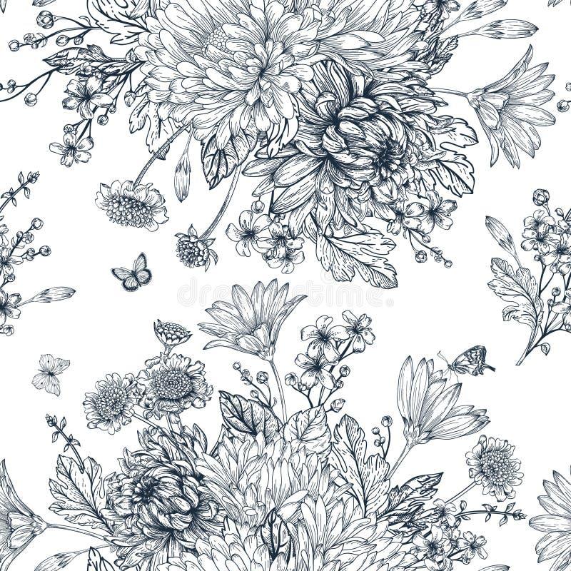 Безшовная картина с цветками лета бесплатная иллюстрация
