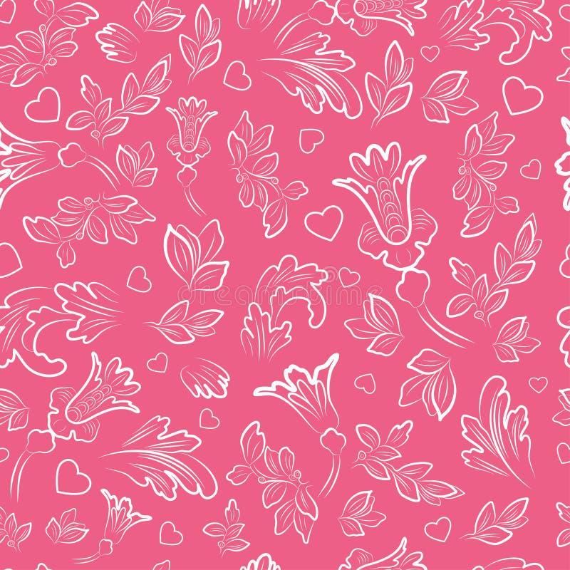 Безшовная картина с цветками, листьями и сердцами иллюстрация вектора