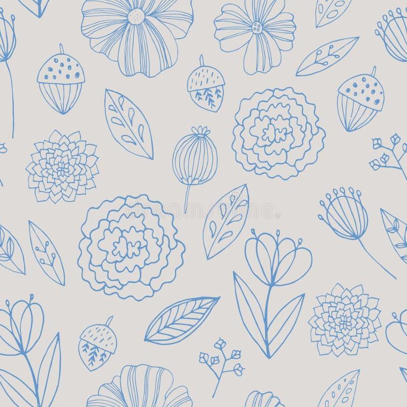 Безшовная картина с цветками, листьями и травой осени иллюстрация вектора