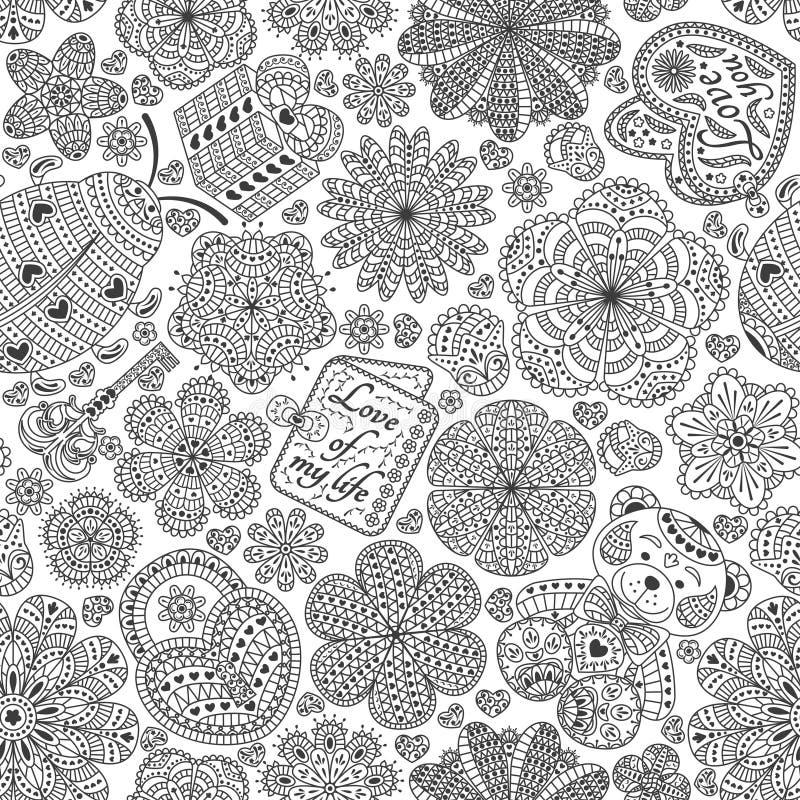 Безшовная картина с цветками, сердцами, карточками, медведем, подарком, ключом и ladybug Отправьте СМС влюбленность вы и влюбленн иллюстрация вектора