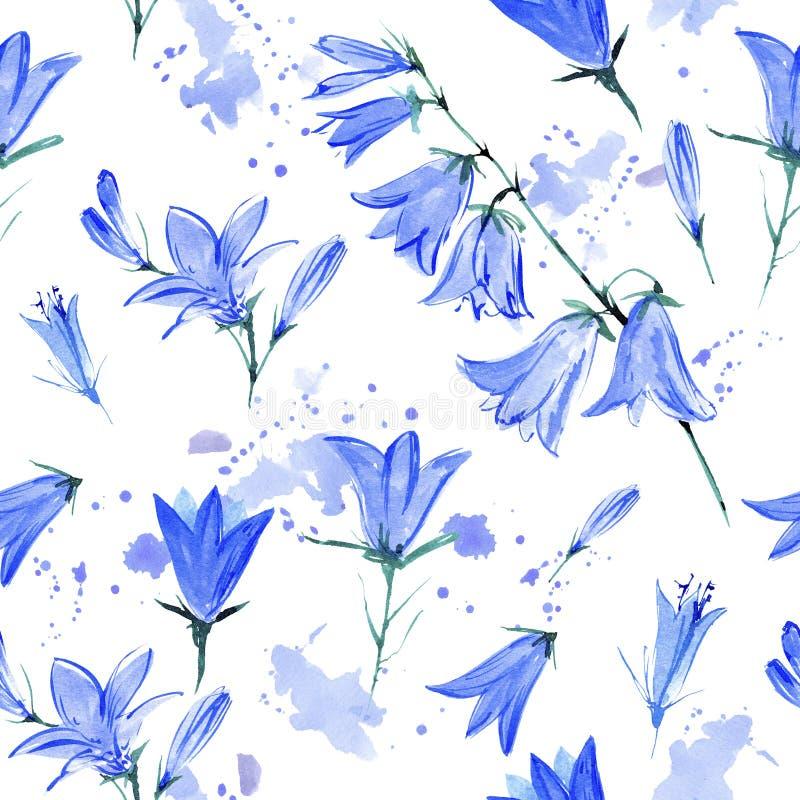 Безшовная картина с цветками bluebell иллюстрация вектора