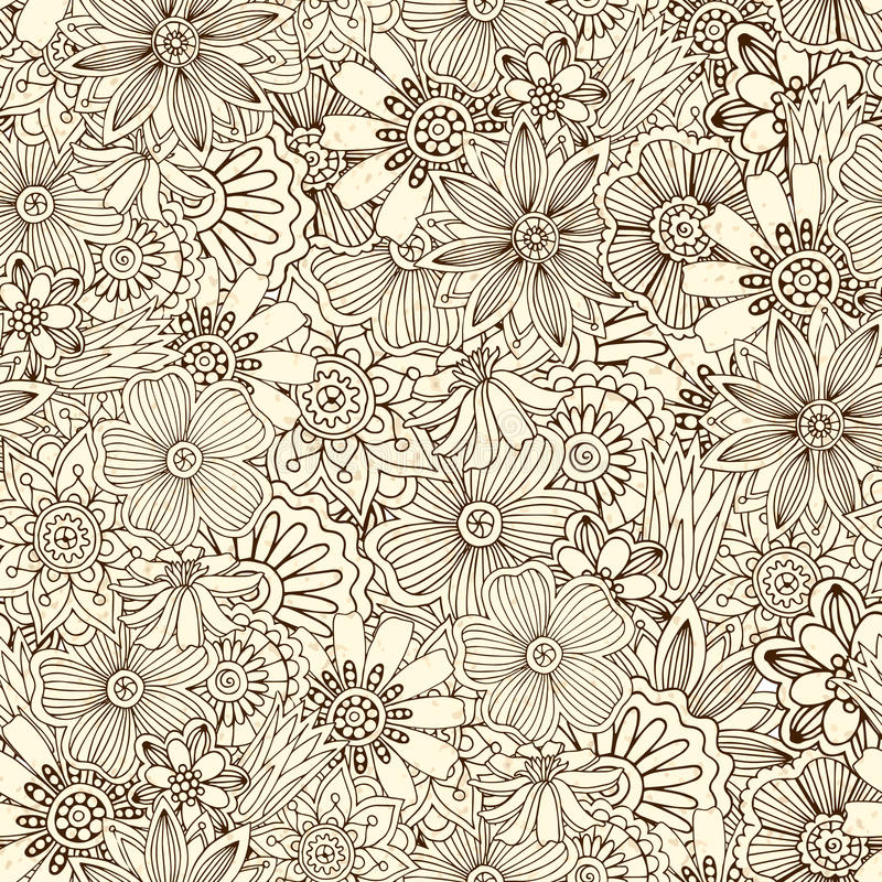 Безшовная картина с цветками, doodles, огурцы бесплатная иллюстрация