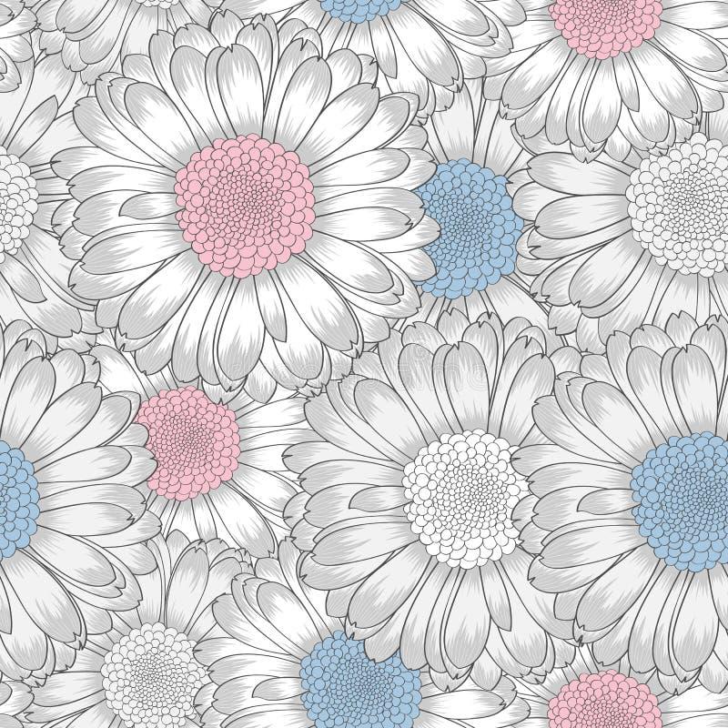 Безшовная картина с цветками gerbera стоковое фото