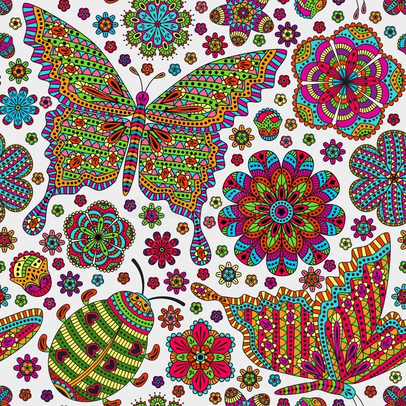 Безшовная картина с цветками, ladybug и бабочками романтичное предпосылки флористическое Голубые и белые цветы иллюстрация штока