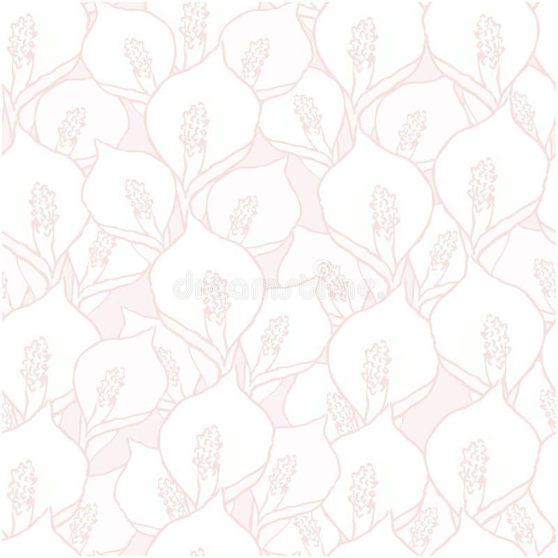 Безшовная картина с цветками spathiphyllum на пинке иллюстрация вектора