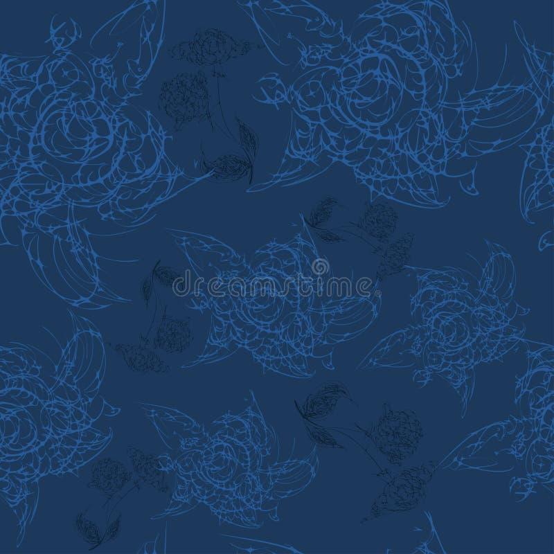 Безшовная картина с цветком покрашенным рукой бесплатная иллюстрация