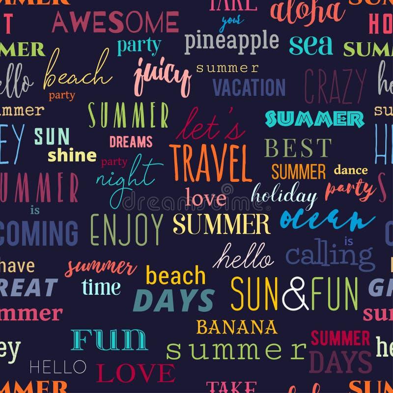 Безшовная картина с цитатами оформления лета Красочный дизайн для печати, обоев, знамени, ткани бесплатная иллюстрация
