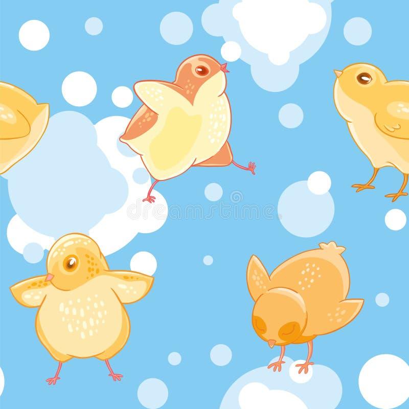 Безшовная картина с цыплятами шаржа смешными желтыми на предпосылке голубого неба и облаков бесплатная иллюстрация