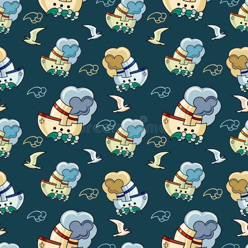 Безшовная картина с чайками и кораблями иллюстрация штока
