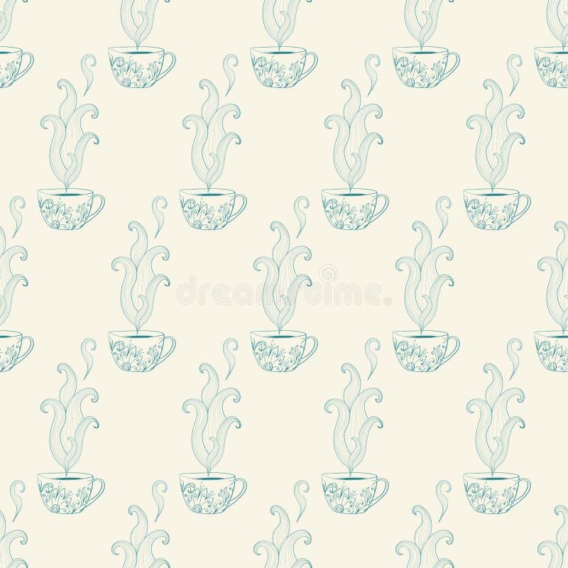 Безшовная картина с чашками чая иллюстрация штока