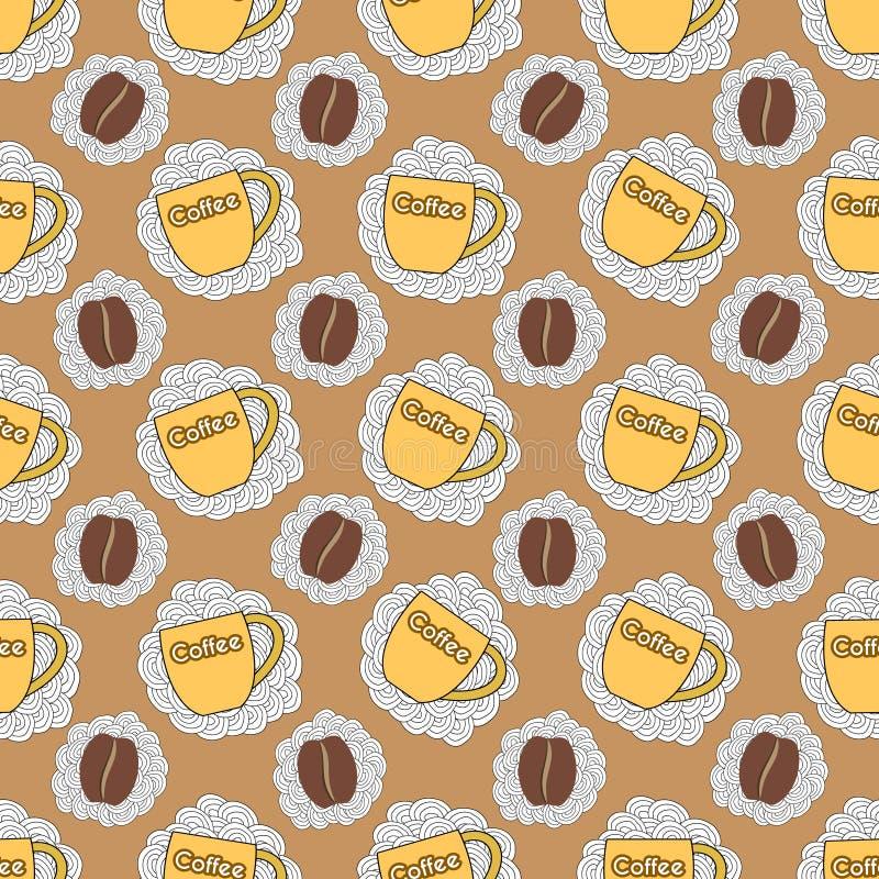 Безшовная картина с чашкой и кофейным зерном бесплатная иллюстрация