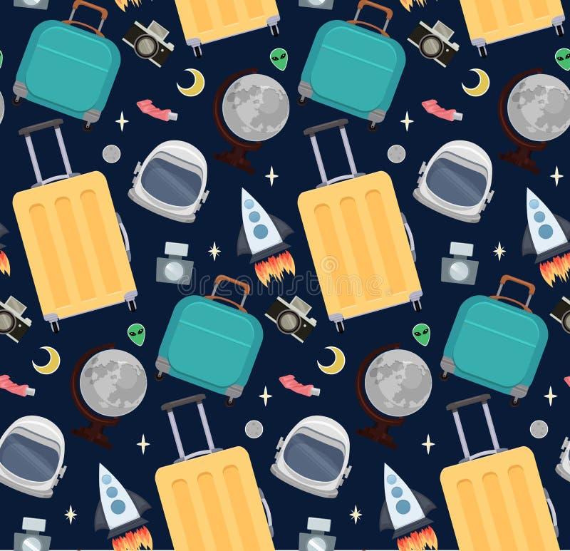 Безшовная картина с чемоданами путешественников, шлем астронавтов, глобус луны, ракета Космический туризм иллюстрация вектора