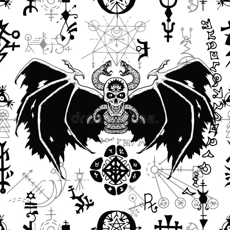 Безшовная картина с чернотой подогнала демона и загадочных символов на белизне бесплатная иллюстрация