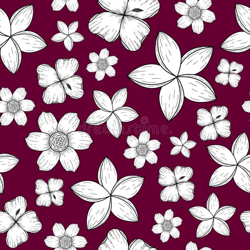 Безшовная картина с черно-белыми тропическими цветками иллюстрация вектора