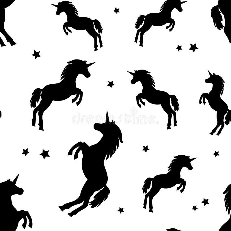 Безшовная картина с черными единорогами и звездами силуэтов также вектор иллюстрации притяжки corel иллюстрация штока