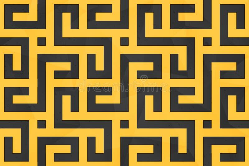 Безшовная картина с черными линиями над желтым фоном иллюстрация штока