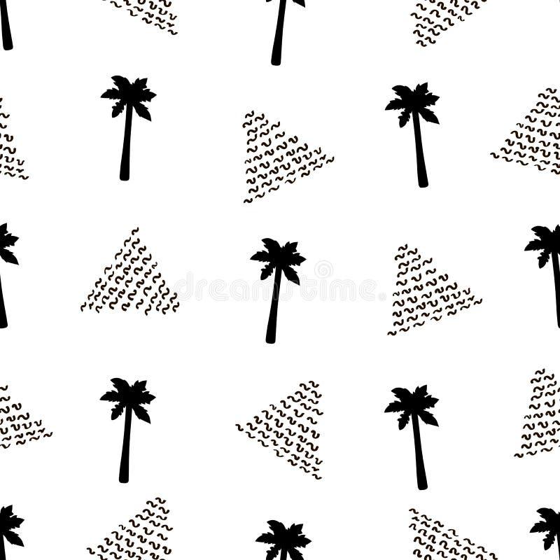 Безшовная картина с черными пальмами и треугольниками бесплатная иллюстрация