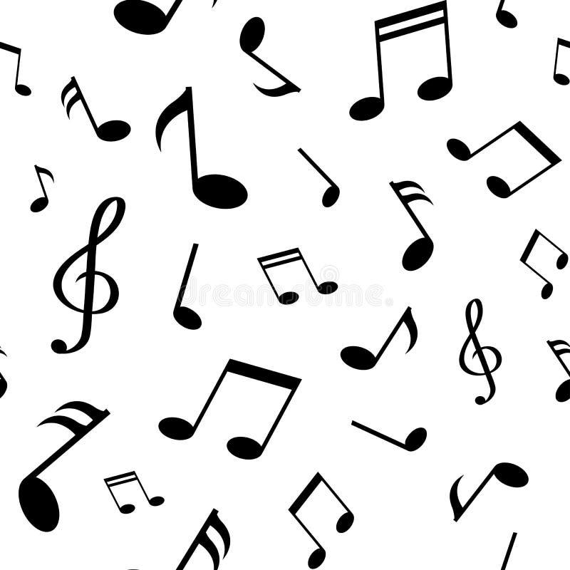 Безшовная картина с черными примечаниями музыки на белой предпосылке также вектор иллюстрации притяжки corel иллюстрация штока