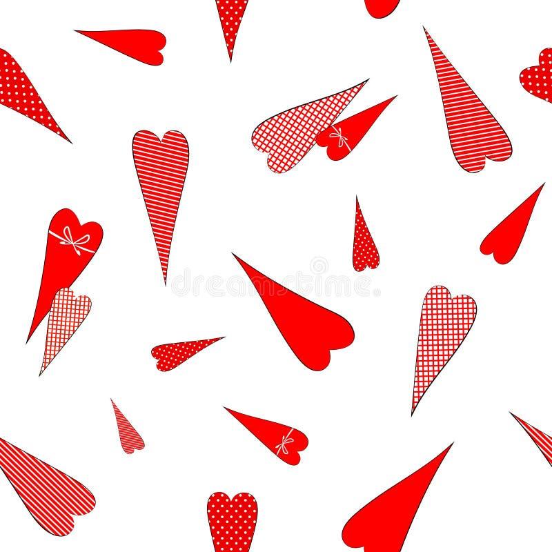 Безшовная картина с чертежом сердец doodles в горохах striped предпосылка клетки декоративная романтичная для свадьбы дня Валента иллюстрация штока
