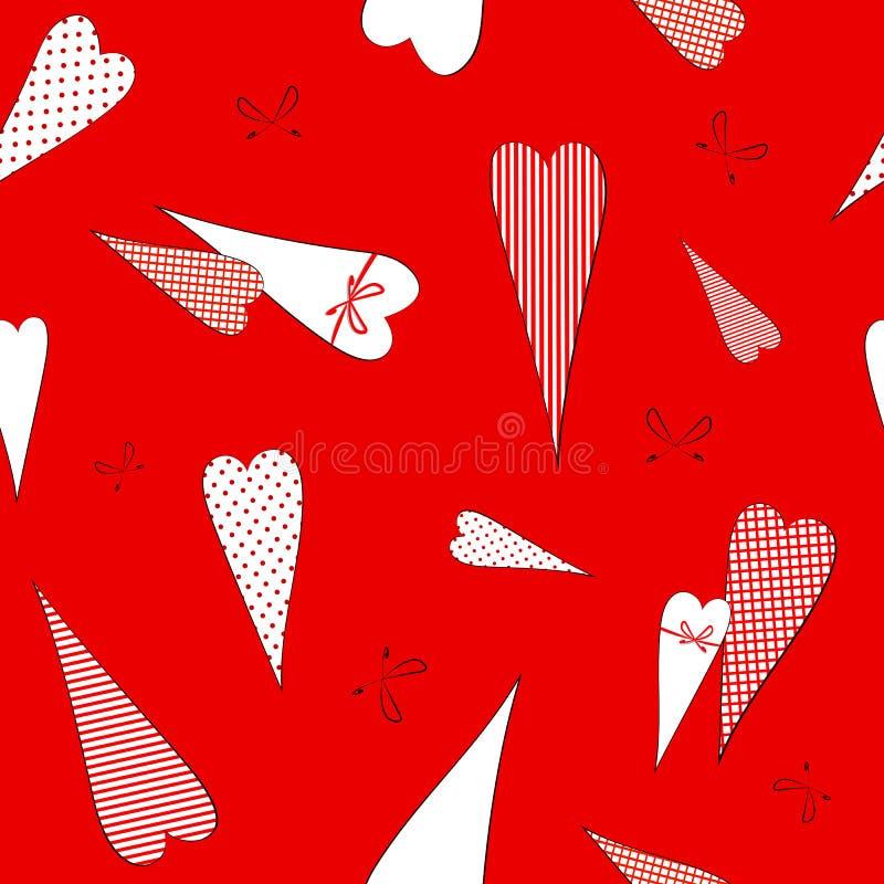 Безшовная картина с чертежом сердец doodles в горохах striped предпосылка клетки декоративная романтичная для свадьбы дня Валента иллюстрация вектора