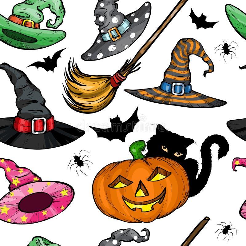 Безшовная картина с шляпами ведьмы, тыквой хеллоуина, черным котом и веником иллюстрация штока
