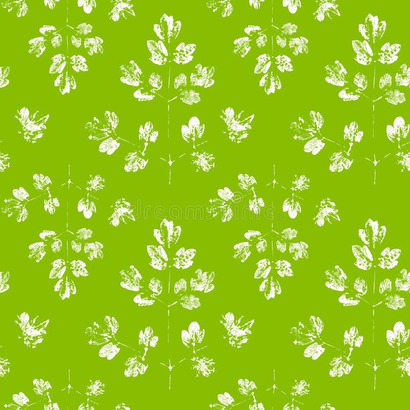 Безшовная картина с штемпелями листьев иллюстрация вектора