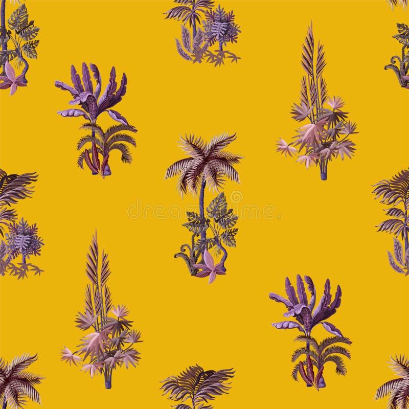 Безшовная картина с экзотическими деревьями такими мы ладонь, monstera и банан Внутренние винтажные обои иллюстрация вектора