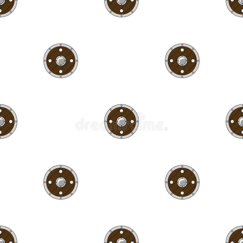 Безшовная картина с экранами круга на белой предпосылке Оборудование рыцаря Детали приключения r r иллюстрация вектора