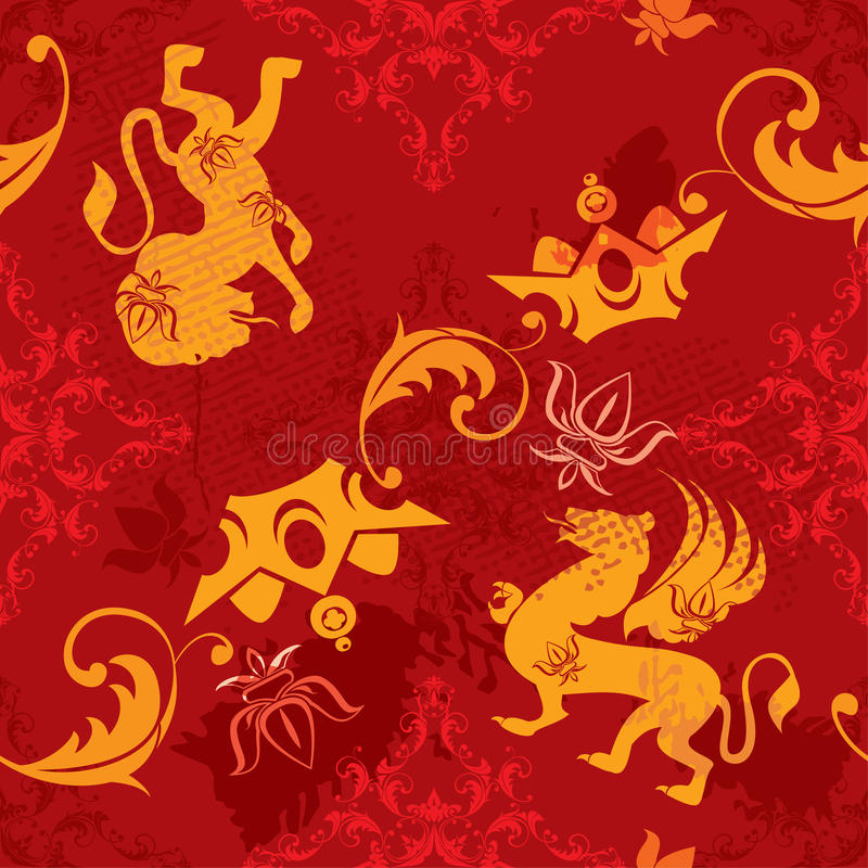 Безшовная картина с элементами сбора винограда heraldic бесплатная иллюстрация