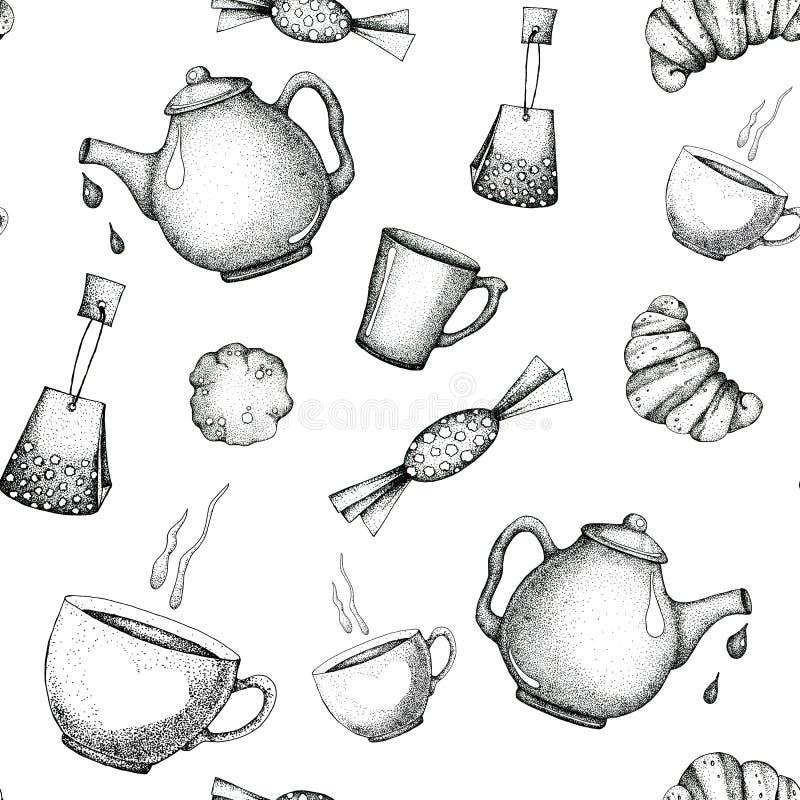 Безшовная картина с элементами чайником чая, чашкой, кружкой, конфетой, выпечкой Для дизайна обоев, оболочки, упаковка, scrapbook иллюстрация штока