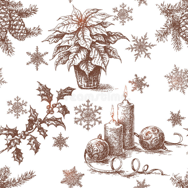 Безшовная картина с эскизом украшений рождества иллюстрация штока