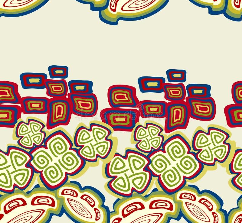 Безшовная картина с этническими индийскими символами Иллюстрация вектора EPS10 иллюстрация штока
