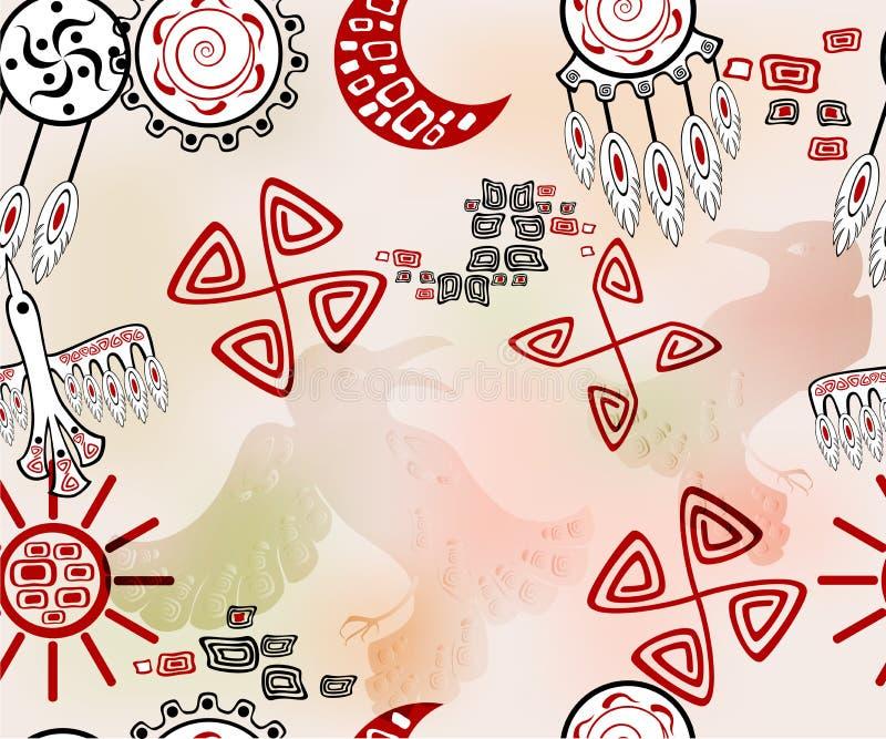 Безшовная картина с этническими индийскими элементами Иллюстрация вектора EPS10 иллюстрация вектора