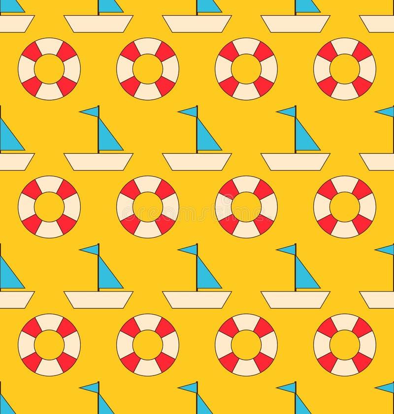 Безшовная картина с элементами моря: Парусники и Lifebuoy иллюстрация вектора