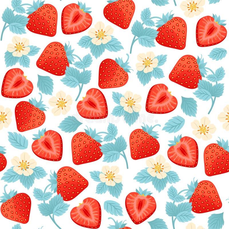 Безшовная картина с ягодами, листьями и цветками клубники иллюстрация штока